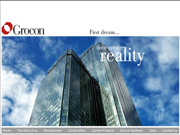 Website for Grocon by  Wayne Tindall, Chaotica Pty Ltd