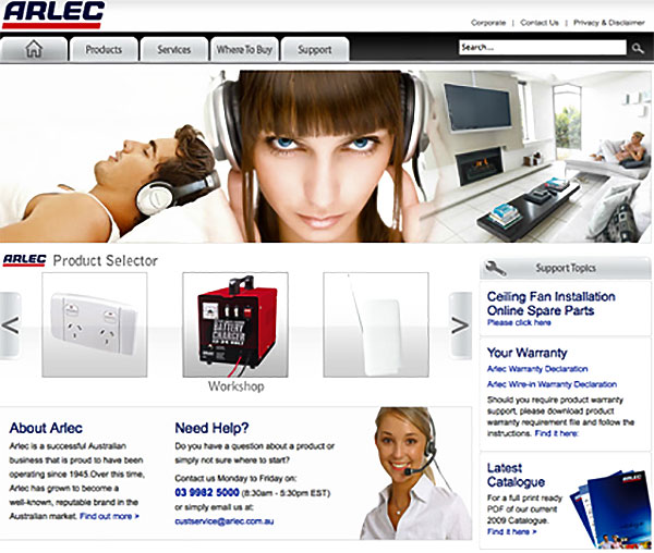 Website development for Arlec  by  Wayne Tindall, Chaotica Pty Ltd